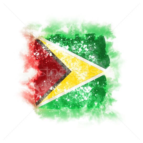 Vierkante grunge vlag Guyana 3d illustration retro Stockfoto © MikhailMishchenko