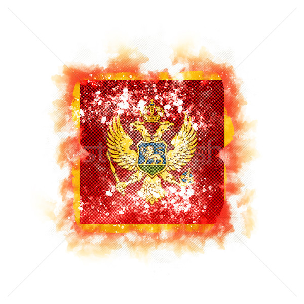 квадратный Гранж флаг Черногория 3d иллюстрации ретро Сток-фото © MikhailMishchenko