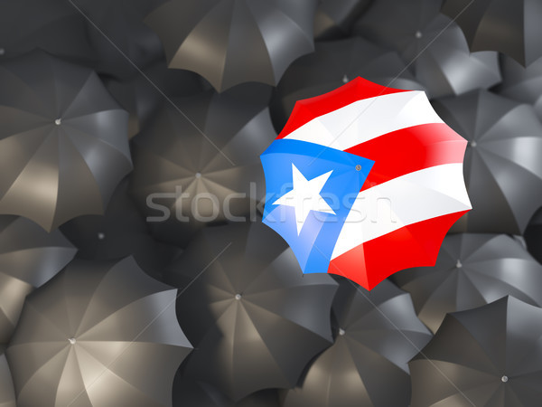 Paraplu vlag Puerto Rico top zwarte parasols Stockfoto © MikhailMishchenko