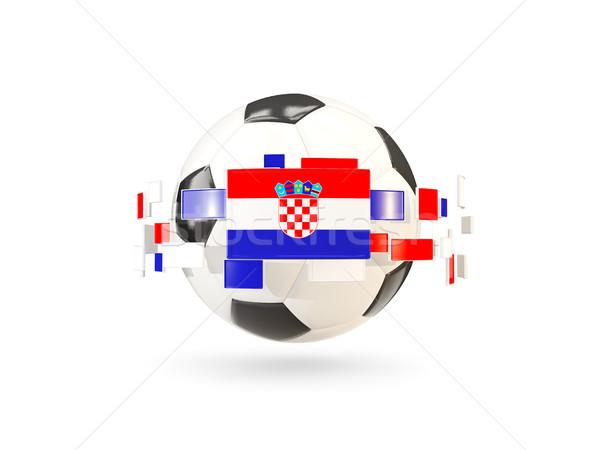 футбольным мячом линия флагами флаг Хорватия Сток-фото © MikhailMishchenko