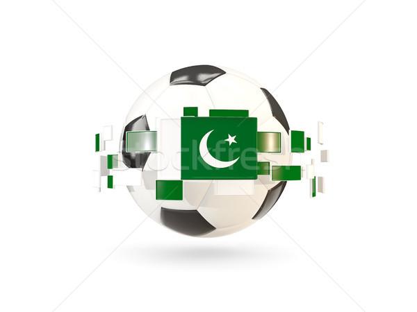 Futballabda vonal zászlók zászló Pakisztán lebeg Stock fotó © MikhailMishchenko