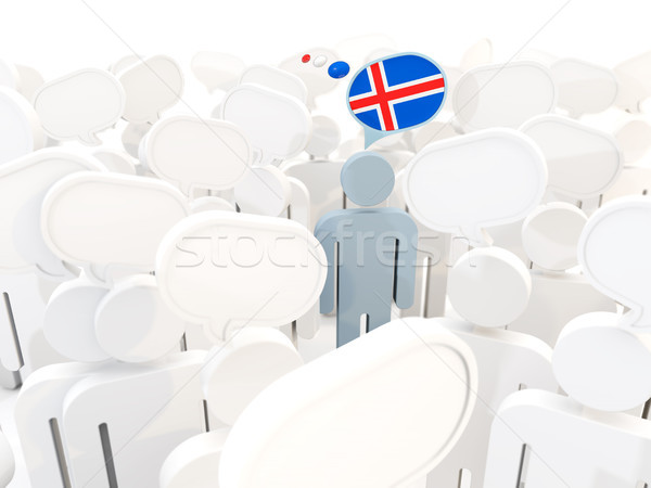 Man with flag of iceland in a crowd Stock photo © MikhailMishchenko