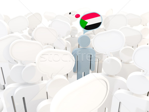 Man with flag of sudan in a crowd Stock photo © MikhailMishchenko