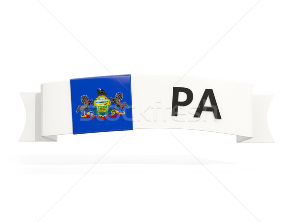 pennsylvania state flag on banner with postal abbreviation isola Stock photo © MikhailMishchenko