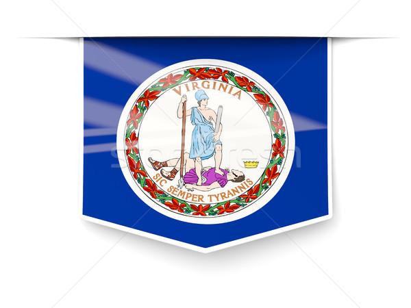 Виргиния флаг квадратный Label тень Соединенные Штаты Сток-фото © MikhailMishchenko