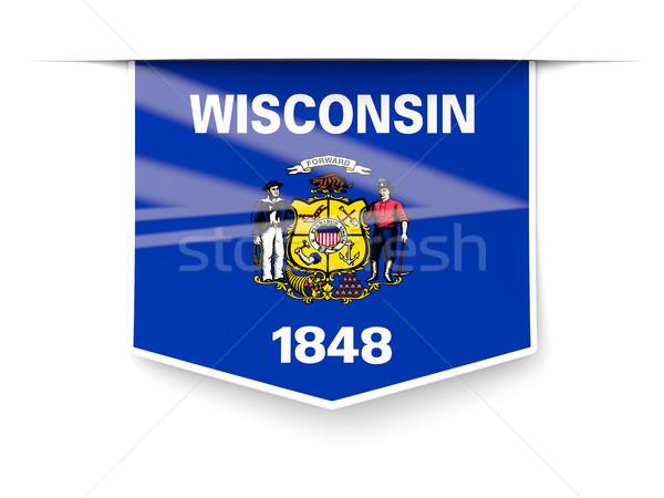 Висконсин флаг квадратный Label тень Соединенные Штаты Сток-фото © MikhailMishchenko