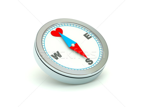 Compass with heart symbol Stock photo © MikhailMishchenko