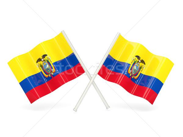 Zászló Ecuador kettő hullámos zászlók izolált Stock fotó © MikhailMishchenko