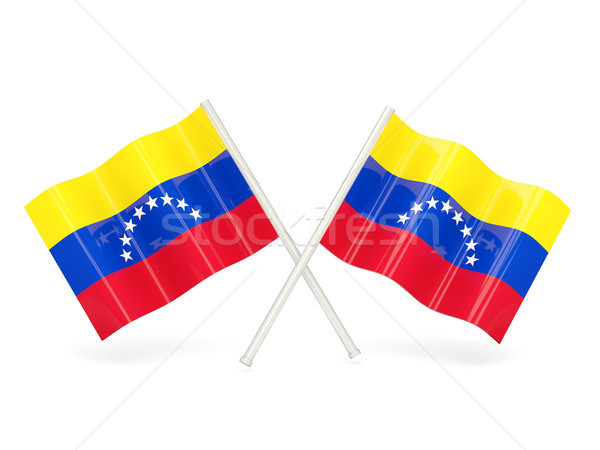Zászló Venezuela kettő hullámos zászlók izolált Stock fotó © MikhailMishchenko