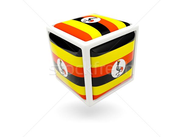 Pavillon Ouganda cube icône isolé blanche Photo stock © MikhailMishchenko