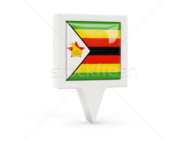 Square flag icon of zimbabwe Stock photo © MikhailMishchenko