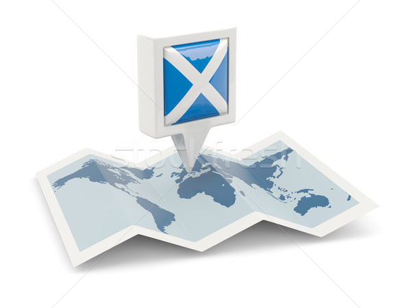 Square pin with flag of scotland on the map Stock photo © MikhailMishchenko