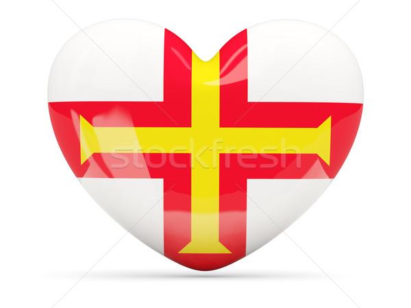 Heart shaped icon with flag of guernsey Stock photo © MikhailMishchenko