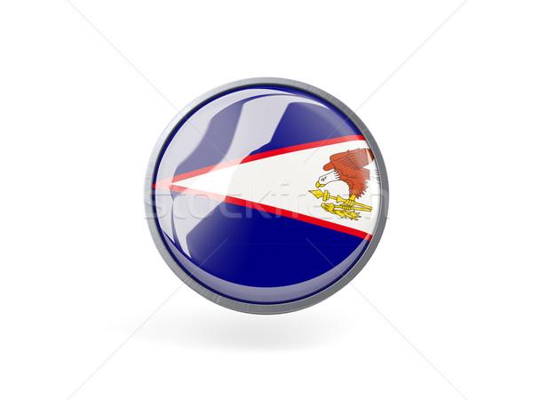 ícone bandeira Samoa Americana metal quadro viajar Foto stock © MikhailMishchenko