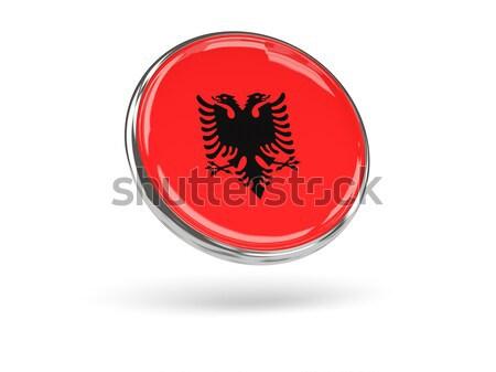Etiqueta bandera Albania aislado blanco viaje Foto stock © MikhailMishchenko