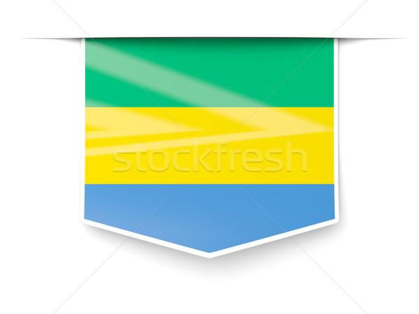 квадратный Label флаг Габон изолированный белый Сток-фото © MikhailMishchenko