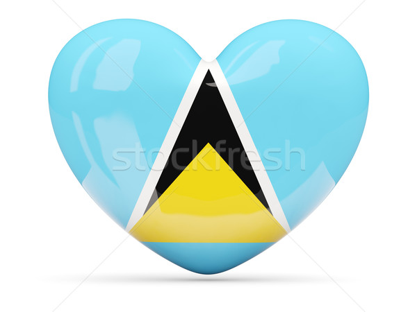 Heart shaped icon with flag of saint lucia Stock photo © MikhailMishchenko