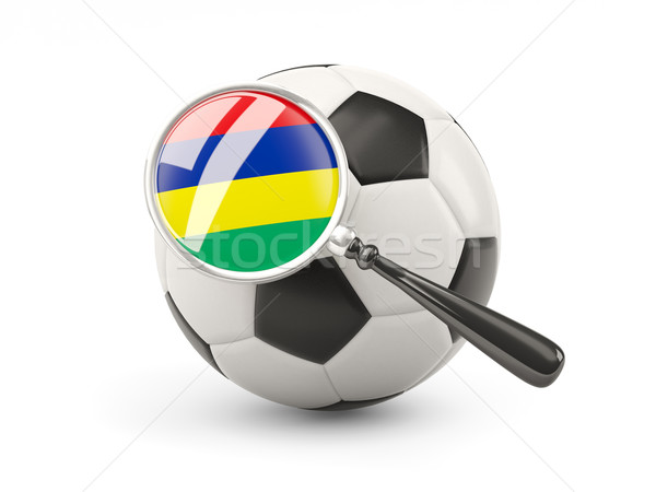 Football with magnified flag of mauritius Stock photo © MikhailMishchenko