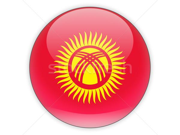 Icon vlag Kirgizië geïsoleerd witte reizen Stockfoto © MikhailMishchenko