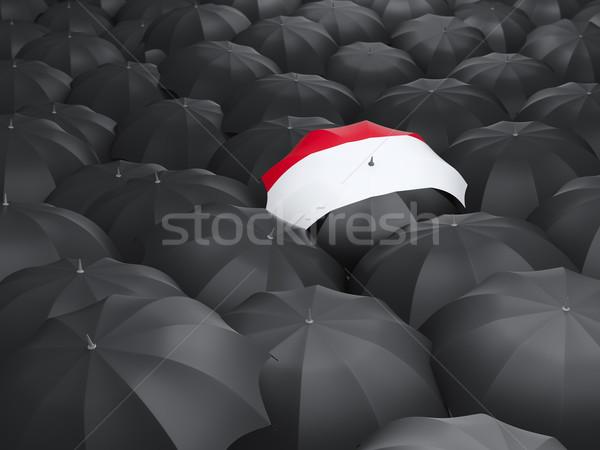 Guarda-chuva bandeira Iémen preto guarda-chuvas viajar Foto stock © MikhailMishchenko