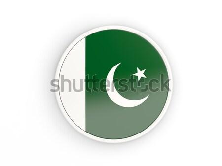 Ikon zászló Pakisztán fényes felirat fehér Stock fotó © MikhailMishchenko