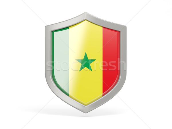 Bouclier icône pavillon Sénégal isolé blanche Photo stock © MikhailMishchenko
