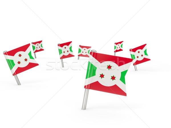 Vierkante vlag Boeroendi geïsoleerd witte land Stockfoto © MikhailMishchenko