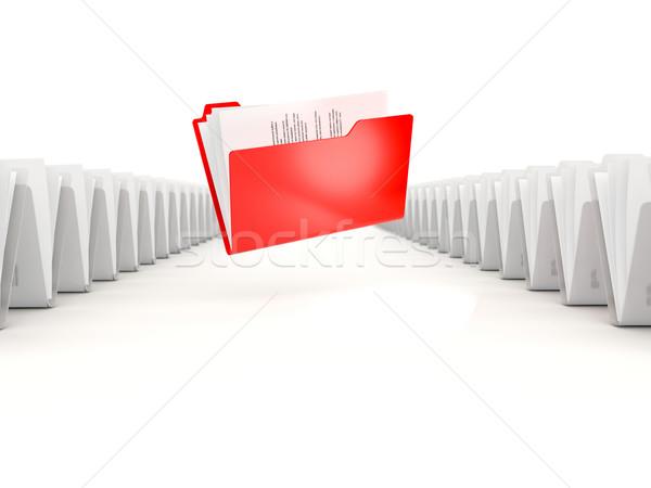 Czerwony folderze rząd odizolowany biały informacji Zdjęcia stock © MikhailMishchenko