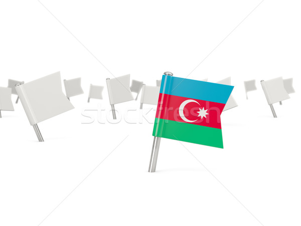 Cuadrados pin bandera Azerbaiyán aislado blanco Foto stock © MikhailMishchenko