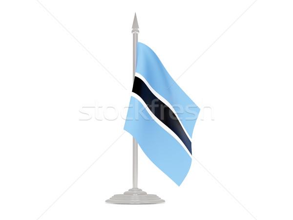 флаг Ботсвана флагшток 3d визуализации изолированный белый Сток-фото © MikhailMishchenko