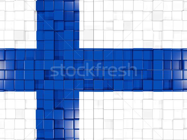 квадратный флаг Финляндия 3d иллюстрации мозаика Сток-фото © MikhailMishchenko