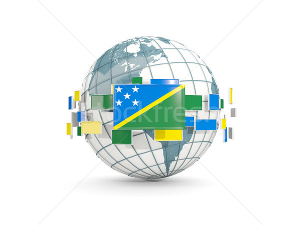 Globe with flag of solomon islands isolated on white Stock photo © MikhailMishchenko