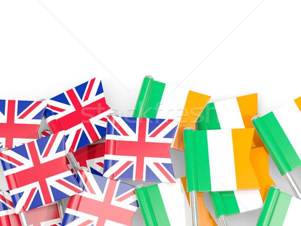 Flag pins of United Kingdom and Ireland isolated on white Stock photo © MikhailMishchenko