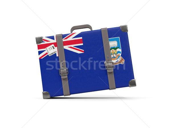 Csomagok zászló Falkland-szigetek bőrönd izolált fehér Stock fotó © MikhailMishchenko