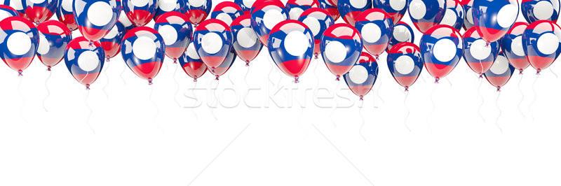 Balony ramki banderą Laos odizolowany biały Zdjęcia stock © MikhailMishchenko