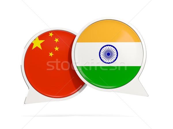 Chat bubbles of China and India isolated on white Stock photo © MikhailMishchenko