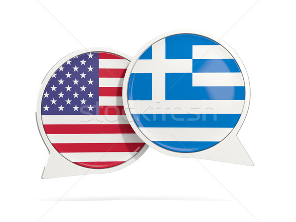 チャット 泡 米国 ギリシャ 孤立した 白 ストックフォト © MikhailMishchenko