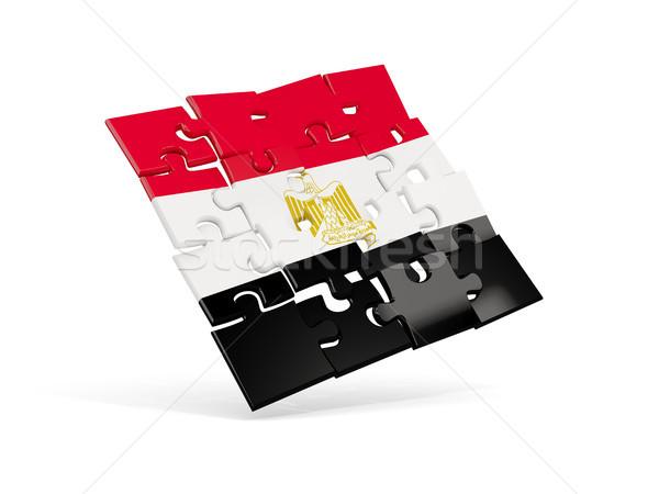 Puzzle zászló Egyiptom izolált fehér 3d illusztráció Stock fotó © MikhailMishchenko