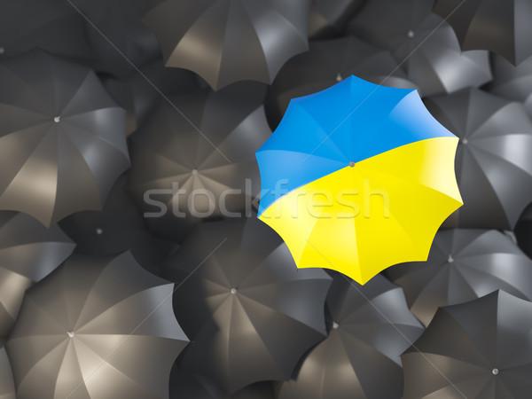 Guarda-chuva bandeira Ucrânia topo preto guarda-chuvas Foto stock © MikhailMishchenko