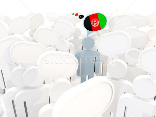 Mann Flagge Afghanistan Menge 3D-Darstellung Zeichen Stock foto © MikhailMishchenko
