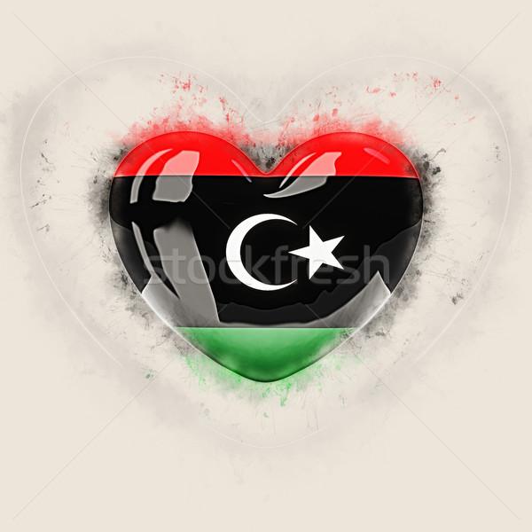 Serca banderą Libia grunge 3d ilustracji Zdjęcia stock © MikhailMishchenko