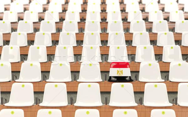 Stadion zitting vlag Egypte rij witte Stockfoto © MikhailMishchenko