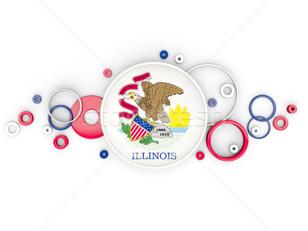 Round flag of illinois with circles pattern. United states local Stock photo © MikhailMishchenko