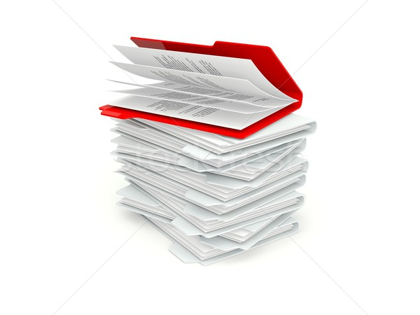 Batch of folders with different red one Stock photo © MikhailMishchenko