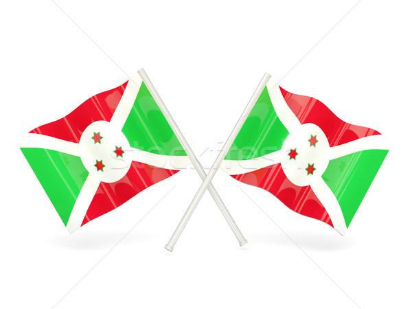 Foto stock: Bandeira · Burundi · dois · ondulado · bandeiras · isolado
