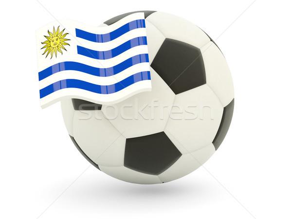 Piłka nożna banderą Urugwaj odizolowany biały sportu Zdjęcia stock © MikhailMishchenko