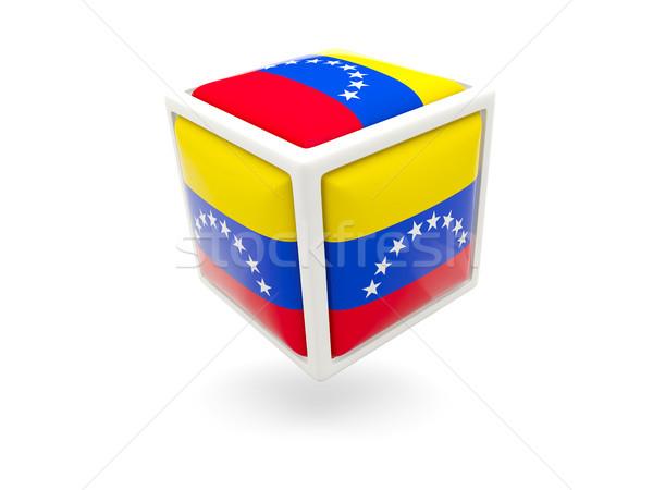 Zászló Venezuela kocka ikon izolált fehér Stock fotó © MikhailMishchenko