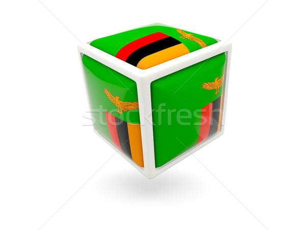 Stock fotó: Zászló · Zambia · kocka · ikon · izolált · fehér