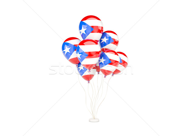 Vliegen ballonnen vlag Puerto Rico geïsoleerd witte Stockfoto © MikhailMishchenko