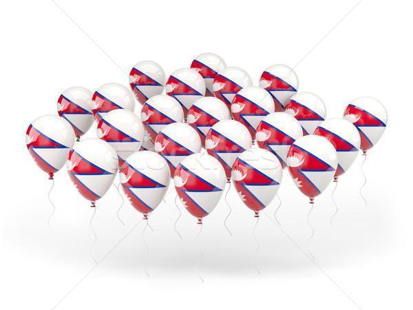 Foto stock: Globos · bandera · Nepal · aislado · blanco · viaje